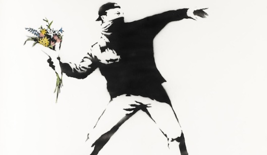 """Love is in the Air"" Banksy 2003 from BlouinArtInfo courtesy of Bonhams"